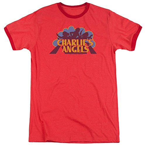 Charlies Angels Faded Logo Unisex Adult Ringer T Shirt for Men and Women, Medium Red