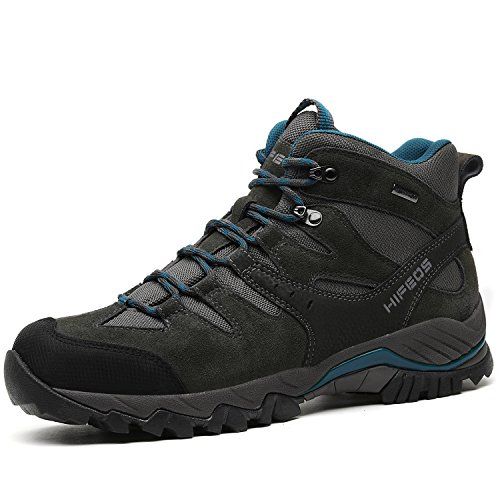 HIFEOS Mid Hiking Boots For Mens Womens Unisex Suede Leather Outdoor Waterproof Backpacking Shoes Grey 10 D(M) US