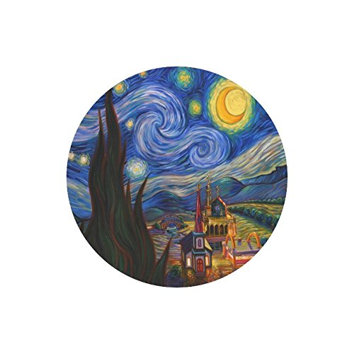 (Vincent Van Gogh Painting Starry Night Durable Cloth Cover Round Mouse Pad 9.84