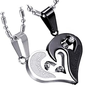 Cupimatch 2-Pieces Men Women Stainless Steel I Love You Heart Rhinestone Puzzle Matching Pendant Couple Necklace…