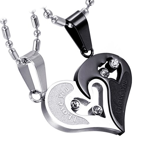 Cupimatch 2-Piece Stainless Steel Couple Necklace Rhinestone I Love You Heart Puzzle Matching Pendant with Chain