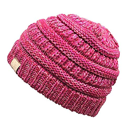 Aigemi Baby Toddler Cable Ribbed Knit Kids Winter Hat Beanie Cap (Rose & Pink)