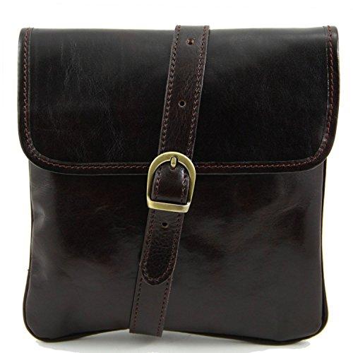 Tuscany Leather - Joe - Bolsillo unisex en piel Negro - TL140987/2 Marrón oscuro