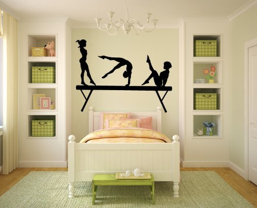 Cukudy Gymnasts and Balance Beam Vinyl Wall Decal Sticker