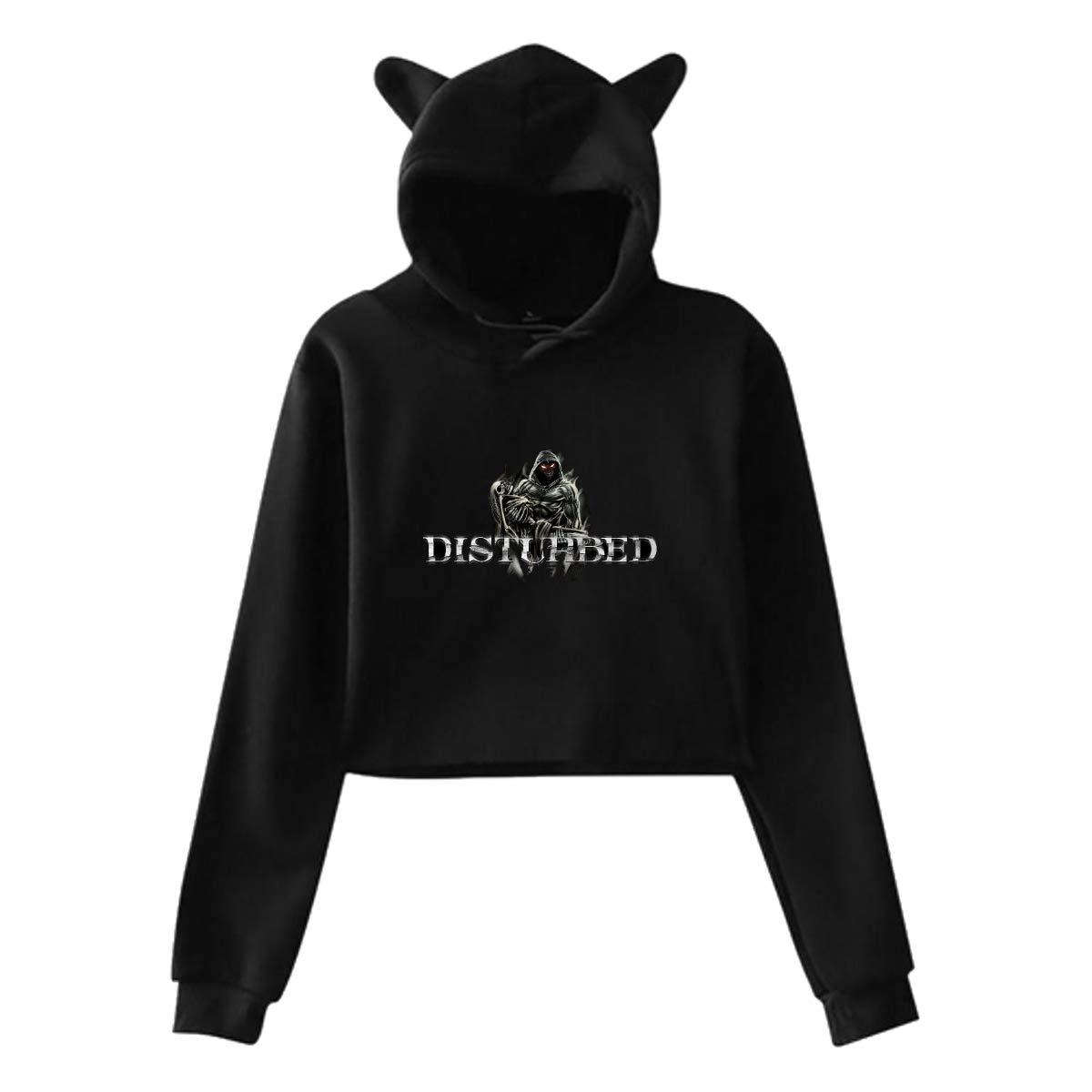 Hedamn Cute Cat Ear Disturbed Women Girl Hoodies Long Sleeve Printed Pullover Sweatshirt