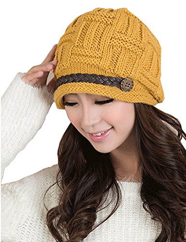 YCHY Slouch Women hat Winter Baggy Snowboarding Knit Snow Warm Hat Beanie Crochet Cap (yellow)