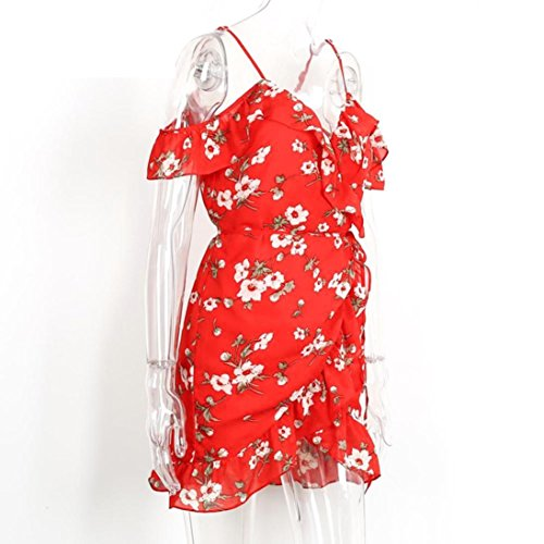 Ouneed® Femme Rouge Fleur Combishort Jumpsuit Chiffon Robe