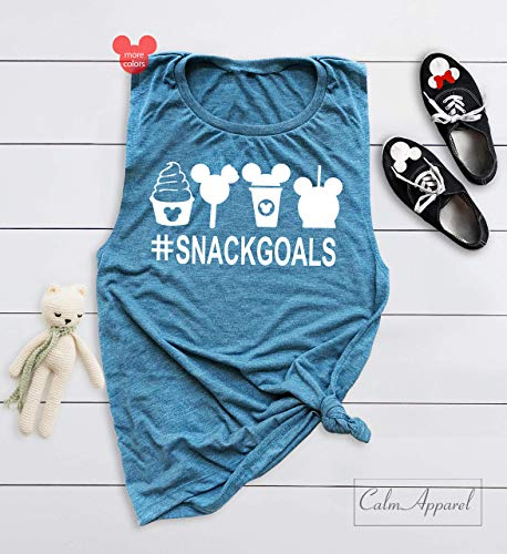 - Snack Goals Tanks Top for Women Trendy Girls Racerback Tees Ladies V-Neck Graphic Holiday Workout Muscle T-Shirts