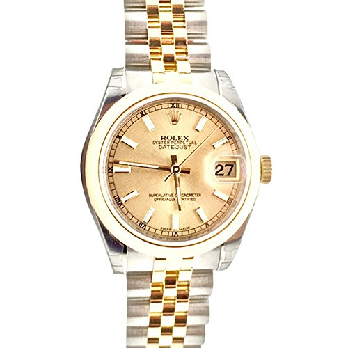 Rolex Datejust 31 Champagne Index Dial 18k Yellow Gold and Steel Ladies Watch 178243