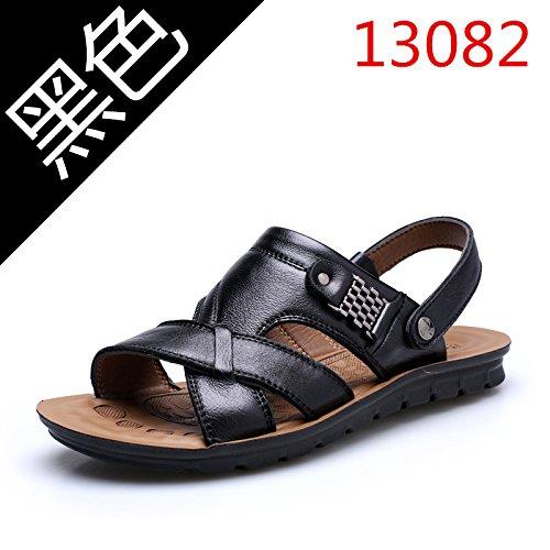 Xing Lin Sandalias De Hombre Verano Sandalias De Hombres Transpirable Zapatillas Antideslizante De Los Hombres De Mediana Edad Zapatos De Fondo Blando Suelo Papá Zapatos, 46,13082 Negro