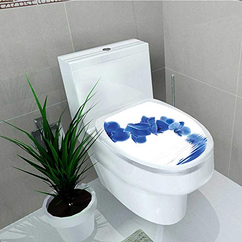 (Analisa A. Houk Toilet Seat Sticker Blue Orchid Corsage Composition Reflection Waterproof Decorative Toilet Cover Stickers W15 x L17)
