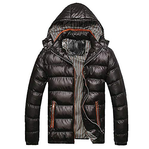 WOCACHI Mens Down Jackets Puffer Coat Detachable Hooded Thicken Outwear Overcoat Winter Autumn Parka Quilted Cotton Puffer Coats Big (Black, XXX-Large) ()