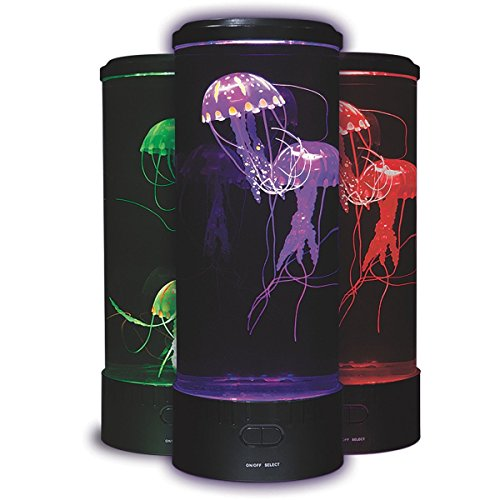Fascinations Led Fantasy Jellyfish Lamp Round With 5 Color Changing Light Effects Jelly Fish Tank Aquarium Mood Lamp For Home Decoration Magic Lamp For Gift