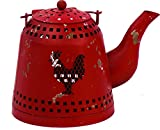 Harbor Gardens ZT171431 Essex Collection Red Distressed Vintage Rooster Cut-Out Tea Pot with Tea Light Holder