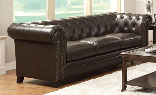 Coaster Roy Traditional Button Tufted Sofa With Rolled Back And Arms  Brown
