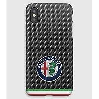 Carbon Alfa Romeo iPhone X, 8, 7, 6, 5, 4 Funda de plástico personalizada Premium y teléfono celular