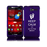 For Motorola Droid Razr M XT907 Snap On 2 Piece Rubber Hard Case Cover Keep Calm and Go to the Beach Sandals (Purple)