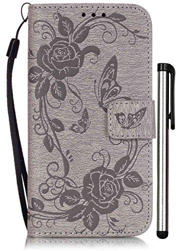 Samsung Galaxy S5 Flip Case Luxury Grey Leather Wallet Full Body Magnet Book Cover Cell Phone Accessories with Stand 3 Credit Card Holders Cash Slot Wrist Strap Handmade Embossed Butterfly Flower SV