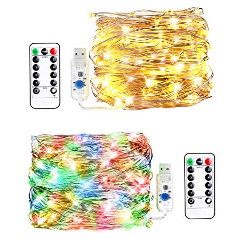 Innotree 2 Pack Fairy Lights USB Plug in, Warm White & Multi Color Changing, 33ft 100 LEDs Firefly Twinkle String Lights with Remote for Bedroom Indoor Outdoor Party Wedding Decoration, Copper Wire