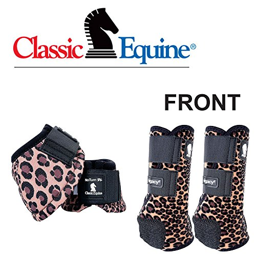 - Classic Equine Medium Legacy 2 Horse Front HIND Sports Bell Boots Cheetah Print