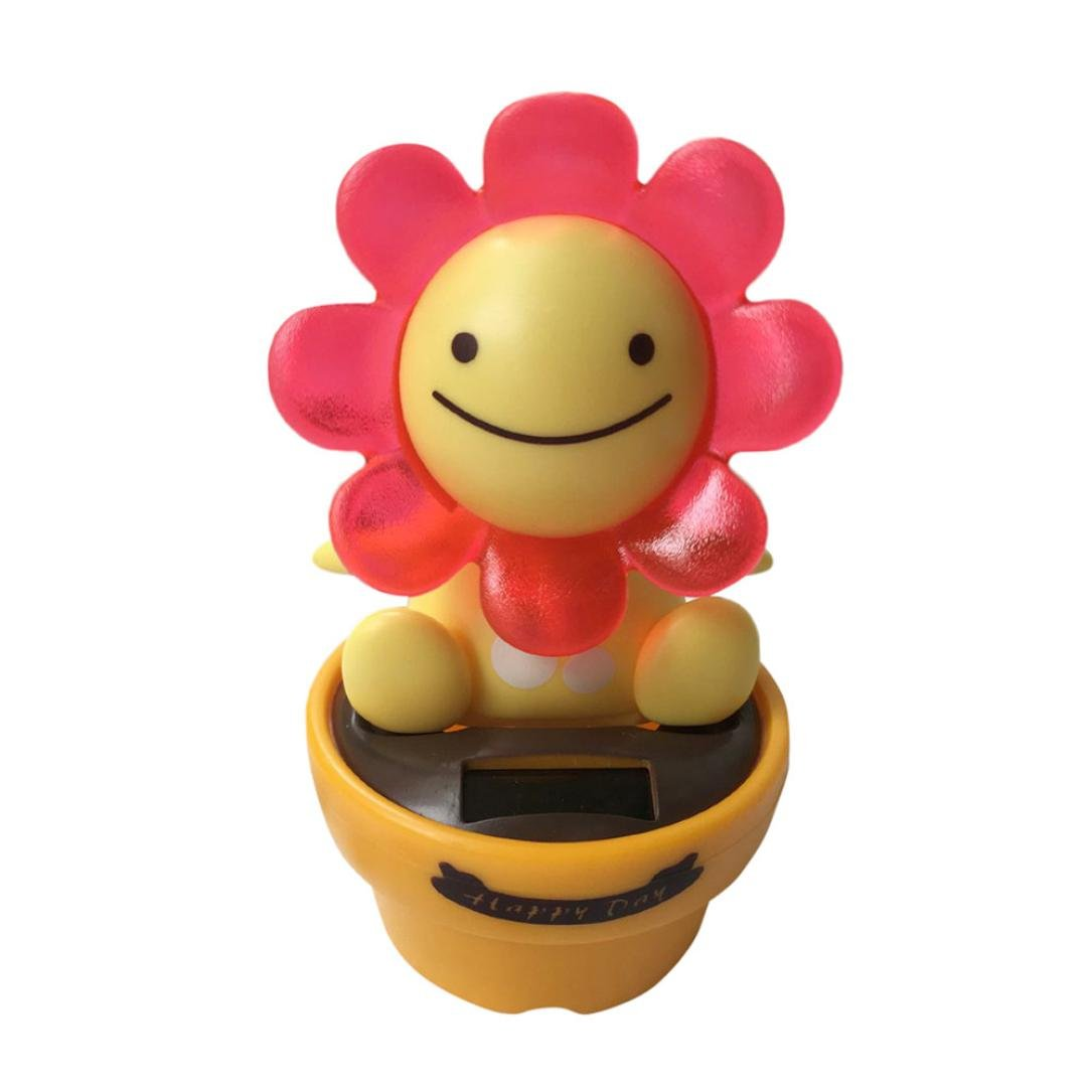 Iuhan Lovely Solar Powered Dancing Animal Swinging Animated Bobble Dancer Toy Car Decor (red)