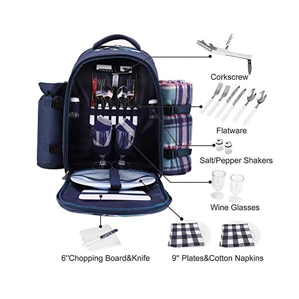 51TEMpEmnSL apollo walker Picknickrucksack für 4 Personen mit Fleece-Decke und Kühlfach (Blau)