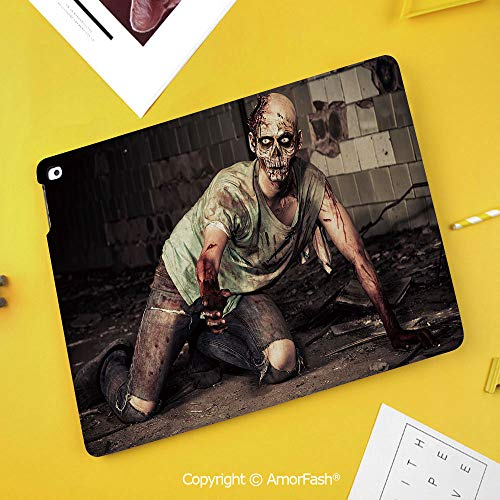 Case for Samsung Galaxy Tab S4 10.5 T830 T835 T837 Kids Safe Shockproof,Zombie Decor,Halloween Scary Dead Man in Old Building with Bloody Nightmare Theme,Grey Mint Peach]()
