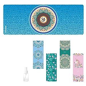 Travel Yoga Mat, Sweat Absorbent Anti Slip Foldable Yoga Mat, Luxury Premium Design Eco Friendly Yoga Mat for Travel…