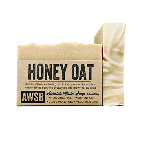Honey Oat Fragrance Free, All Natural, Organic Bar Soap with Goats Milk, Handmade by A Wild Soap Bar (Fragrance Oatmeal)