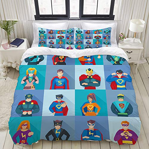 Comic Strip Girl Costumes Makeup - CANCAKA Duvet Cover Set, Characters with
