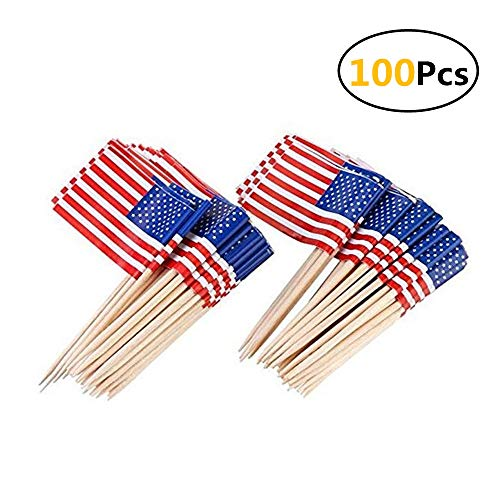 JSDOIN American Flag Picks Flag Toothpicks Cocktail Sticks Cupcake Toppers, 100 Count