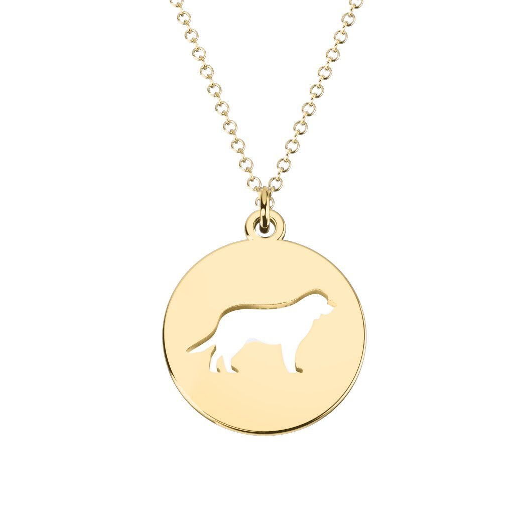 10K Gold Retriever Dog Cutout Disc Necklace by JEWLR