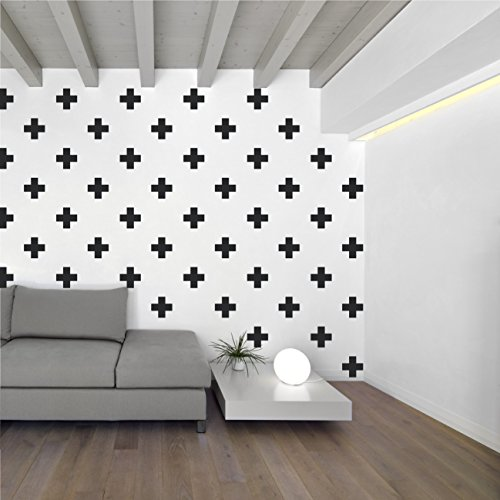 Swiss Cross Pattern Wall Decals - Plus Sign Design Vinyl Bedroom Decor Sticker - DIY Home Decor [Set of 66] (Black, 3x3 -