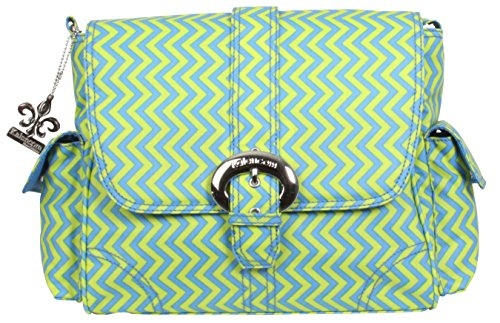 Kalencom Midi Matte Coated Buckle Bag, Wiggly Stripes Beach