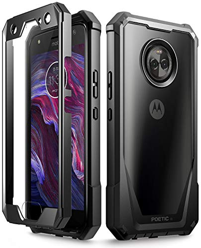 Moto X4 Case, Poetic Guardian [Scratch Resistant Back] Full-Body Rugged Clear Hybrid Bumper Case with Built-in-Screen Protector for Motorola Moto X4 Black