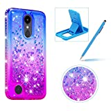 Liquid Clear Case for LG K8 2018,Soft TPU Cover for LG K8 2018,Herzzer Luxury Creative Blue Purple Gradient Color Love Hearts Quicksand Flexible Crystal Case with Diamond Frame