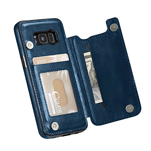 Price comparison product image for Samsung Galaxy S8 Case (NOT Plus), Marval.P Slim Premium Leather Wallet Case Card Slots Shockproof Folio Flip Protective Defender Shell Magnetic Clasp Kickstand Holder Cover