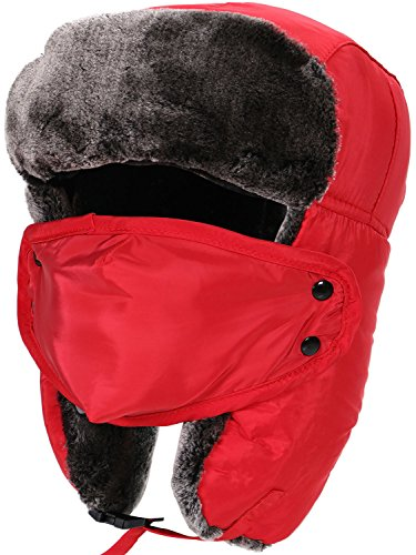 Trapper Hat Faux Fur Trapper Hat with Chin Strap Ear Flaps and Face Mask,Red (Faux Fur Trapper)