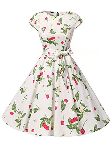 Dressystar DS1956 Women Vintage 1950s Retro Rockabilly Prom Dresses Cap-Sleeve XXXL Cherry3 ()