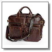 Chocolate Vintage Leather Men's Briefcase Backpack Messenger Laptop Bag Handbag,M43