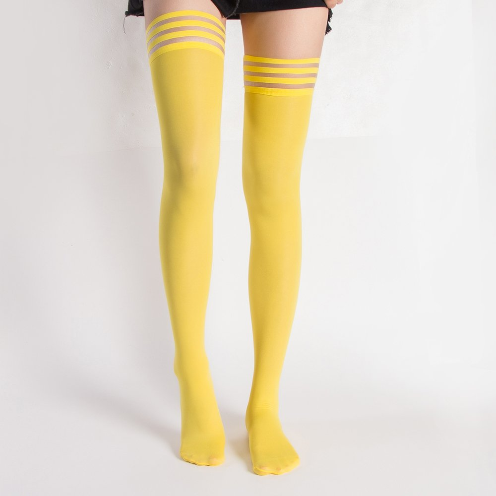 4 Pair Women's Antiskid Silicone Lace Top Opaque Thigh High StockingsBright yellowB by Eabern (Image #2)