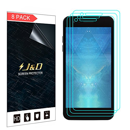 J&D Compatible for 8-Pack LG Zone 4/LG Aristo 2/Aristo 2 Plus/Tribute  Dynasty/K8 2018/Fortune 2 Screen Protector, [Not Full Coverage] Clear Film