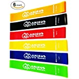 Premium Quality Resistance Loop Bands Full (Set of 6 LEVELS, 12x2 Inch) Strong Professional Fitness Bands for Yoga, Pilates, Strength, Dance, Therapy Stretch and Work Out - Exercise Manual and Carry Bag Included - Smart GIFT Idea for your Family and Friends by Amicus Fit Bands
