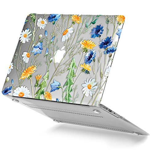 Simple Design Hard Case (GMYLE Hard Case Print Glossy for MacBook Air 13 inch (Model: A1369 and A1466) - Clear Crystal Floral Pattern Glossy Hard Shell Case Cover)