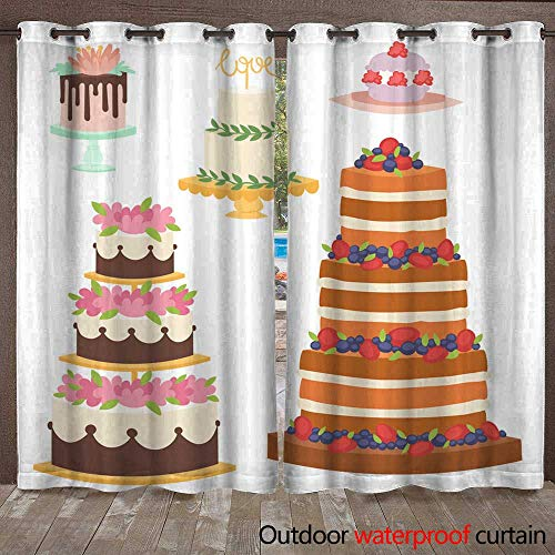 RenteriaDecor 0utdoor Curtains for Patio Waterproof Wedding Cakes Fresh Tasty Dessert Sweet Pastry Pie Gourmet Homemade Delicious Cream Traditional Bakery Tart Vector Illus W72 x - Pewter Tart