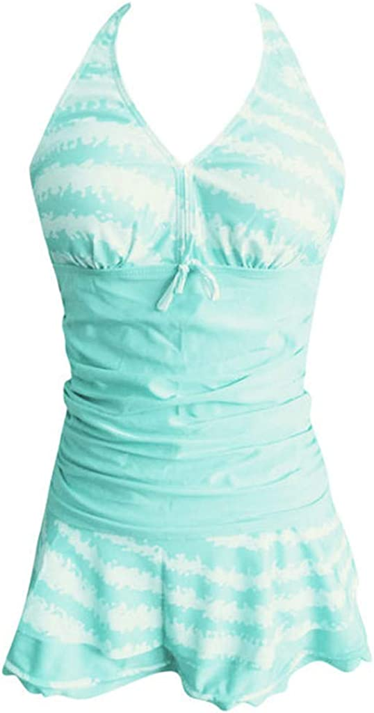 Tomppy Women Plus Size Swimsuits Tankini Swimwear Sleeveless Tank Tops Ruffle Skirt Beach Bathing Suits
