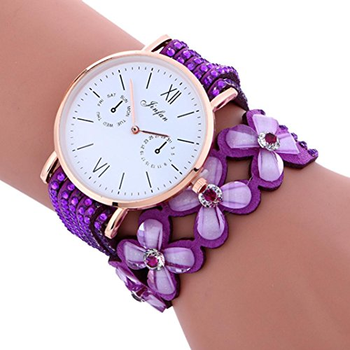 Transparent Dial Faux Leather Wrist Watch (Purple) - 1