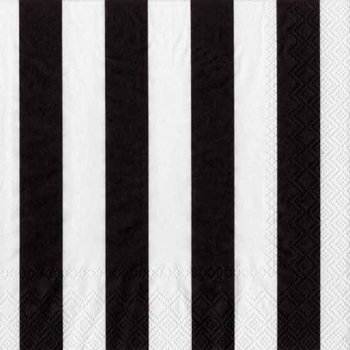 Black Stripe White Plate (Ideal Home Range 20 Count Boston International 3-Ply Paper Cocktail Napkins, Black Big Stripes)