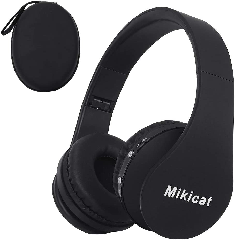 Bluetooth Foldable Headphones Wireless Over-Ear Stereo Earbuds, Wired Headsets with Built-in Microphone Soft Earmuffs & Lightweight for iPhone/Samsung/LG/iPad/PC/TV with Carrying Case (Black)