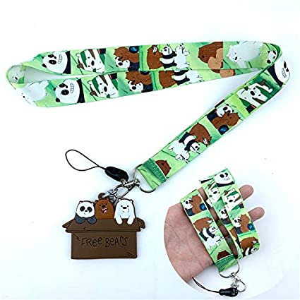 Amazon com : Key Chains - Cartoon Cute We Bare Bears Neck Strap